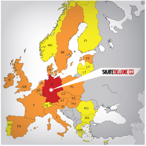 Map of European countries with skatedeluxe delivery times